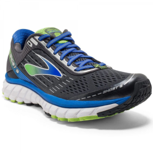 Image of Brooks Mens Ghost 9 Running Shoes, Anthracite/electric Blue/lime