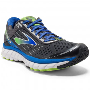Image of Brooks Mens Ghost 9 Running Shoes, Wide, Anthracite/electric Blue/black