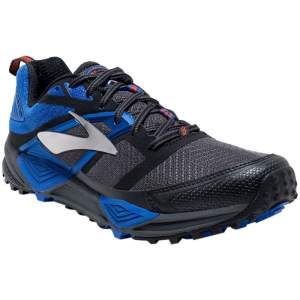 Image of Brooks Mens Cascadia 12 Trail Running Shoes, Anthracite/electric Blue/black