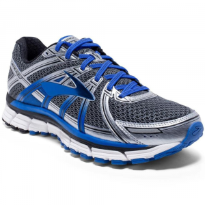 Brooks Mens Adrenaline Gts 17 Running Shoes, Wide, Anthracite/electric Brooks Blue/silver