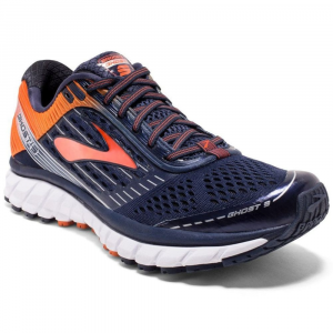 Image of Brooks Mens Ghost 9 Running Shoes, Peacoat/red Orange/black