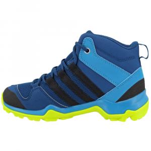 Image of Adidas Kids Ax2R Mid Hiking Shoes, Blue Night/black/semi Solar Yellow