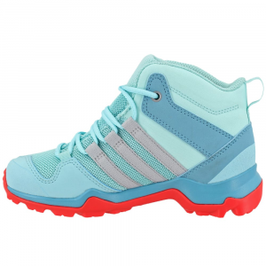 Image of Adidas Kids Ax2R Mid Hiking Shoes, Clear Aqua/grey Two/easy Coral