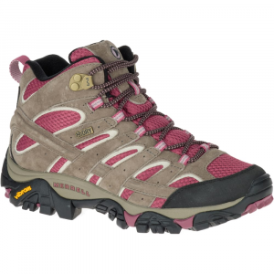 Merrell Women's Moab 2 Mid Waterproof Hiking Boots, Boulder/ Blush - Size 5