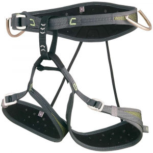 camp air cr climbing harness- Save 30% Off - An excellent choice for nearly any kind of fast-and-light adventure, the Camp Air CR is the world's lightest harness with adjustable leg loops and is perfect for rock climbing, alpinism, and ice climbing. . Made with 2 mm perforated EVA foam padding attached to soft polyester mesh (interior) and durable nylon mesh (exterior) using edge-load construction. Four webbing reinforced gear loops keep your rack organized. Features the patented No-Twist belay loop and a chalk bag loop. Pre-threaded buckles on the waist and legs. Patented Flat Link elastic straps connect the waist and legs.