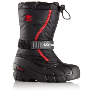 Sorel Boys' Flurry Waterproof Winter Boots, Black/bright Red