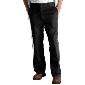 Durable Dickies with reinforced knees. .  . . . . . .  65% polyester, 35% cotton; twill. . ...