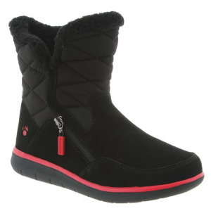 Cool, cold weather option, the Katy 7 inch suede and quilted nylon upper bootie offers off-set...