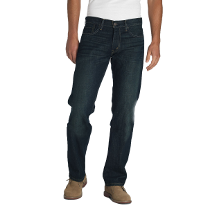 The Levi\\\'s 514 jeans sit comfortably below the waist.  100% cotton.  Sits below waist.  Straight...