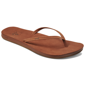 Slip into comfort with these casual women\\\'s cushioned flip-flops. The leather straps and...