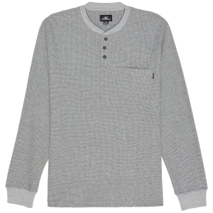 This men\\\'s long-sleeve Henley features a classic waffle knit design with a three button...
