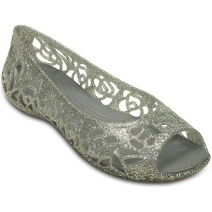 Dress up days just got more fun - she\\\'ll love these glittery flats with pretty rose pattern...