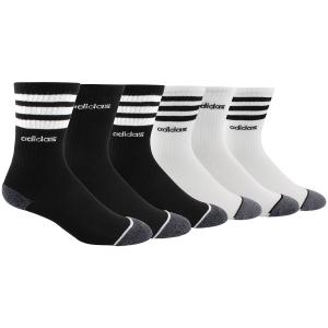 Image of Adidas Boys' 3 Stripe Crew Socks, 6-Pack