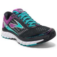 Brooks Women's Ghost 9 Running Shoes, Black/sparkling Grape