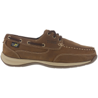 Rockport Works Men's Sailing Club Steel Toe Boat Shoes, Brown, Wide