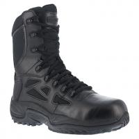 Reebok Work Men's Rapid Response Rb Composite Toe Stealth 8 in. W/ Side Zip Boot, Black