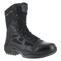 """Reebok Work Men's Rapid Response Rb Soft Toe Stealth 8"""" Waterproof W/ Side Zipper Boot, Black"""