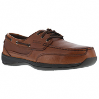 Rockport Works Men's Sailing Club 3 Eye Tie Steel Toe Boat Shoe, Dark Brown