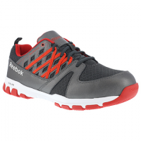 Reebok Work Men's Sublite Work Steel Toe Athletic Oxford Sneaker, Grey/red