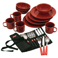 Coleman 24-Piece Enamel Dinnerware Set