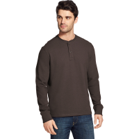 G.h. Bass & Co. Men's Carbon Plaited Jersey Long-Sleeve Henley