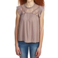 Taylor & Sage Juniors' High-Neck Lace Detail Top