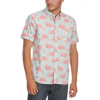 Artistry In Motion Guys' Flamingo Print Woven Short-Sleeve Shirt