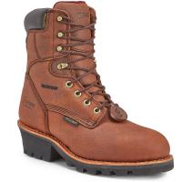 Chippewa Men's 8 In. 99900 Pitstop Insulated Waterproof Steel Toe Logger Work Boots, Dark Brown, Wide
