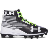 Under Armour Kids' Hammer Mid Rubber Molded Jr. Football Cleats, Black/white
