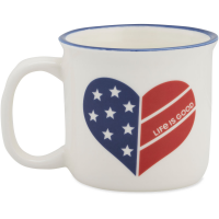 Life Is Good Flag Heart Happy Camper Mug