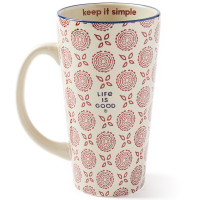 Life Is Good Double Flower Pattern Extra Tall Mug