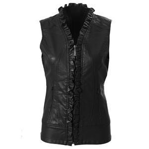 Montanaco Faux Leather Ruffle Vest (Women's)