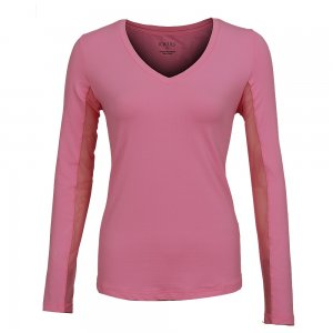 Ibkul Long Sleeve Solid V-Neck Sun Shirt (Women's)
