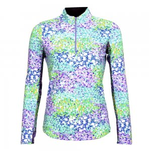 Ibkul Long Sleeve Printed Zip Mock Sun Shirt (Women's)