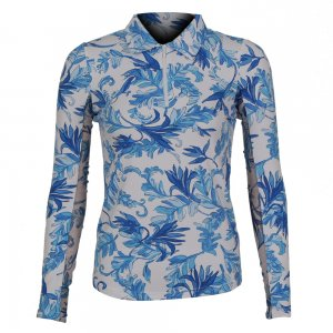 Ibkul Long Sleeve Printed Zip Polo (Women's)