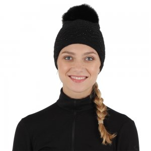 Peter Glenn Crystal Knit Hat with Fox Pom (Women's)