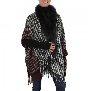 Peter Glenn Check Pattern Wrap with Fox Trim (Women's)