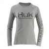 Huk Performance Fishing Huk Performance Fishing W Pursuit Vented Ls Tops, Long Sleeve   Women's, Grey, Large