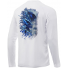 Huk Performance Fishing Huk Performance Fishing Pursuit Bill Fish Art Slam Long Sleeve Graphic T Shirt   Men's, White, Large