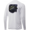 Huk Performance Fishing Huk Performance Fishing Pursuit Bass And Blue Long Sleeve Graphic T Shirt   Men's, White, Large