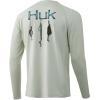 Huk Performance Fishing Huk Performance Fishing Bass Pursuit Long Sleeve Graphic T Shirt   Men's, Fog Green, Large