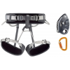 Petzl Corax Harness Kit with GRIGRI Belay System and SmD Carabiner, Gray, 1