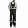Carhartt Flame Resistant Striped Duck Bib Overall, Black, 30/28