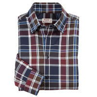 St. Croix Herringbone Plaid Long Sleeve Sport Shirt