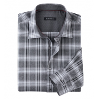 Bugatchi Uomo Heather Plaid Long Sleeve Sport Shirt