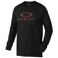Oakley Bark Repeat LS Tee in Jet Black