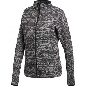 Adidas Women's Knit Fleece Jacket - Large - Dark Grey Heather