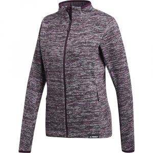 Adidas Women's Knit Fleece Jacket - Medium - Red Night