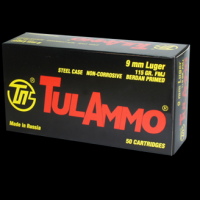 Tula 9mm Ammo 115 Grain FMJ Steel Cased, 50 rds/box - TA919150