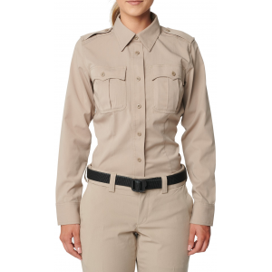 5.11 Tactical Women's Flex-Tac Poly/Wool Twill Class A Long Sleeve Shirt 62393 | Silver Tan | X-Small | Polyester/Wool | LAPoliceGear.com thumbnail